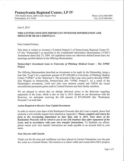 PA 4-Capital Repayment letter to__ Investor